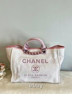 1000% AUTH! NEW CHANEL Pink Deauville Large Tote Bag