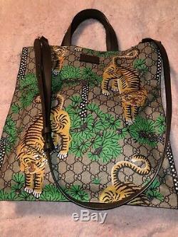 $2325 Ltd Ed Gucci Brown Beige Gg Supreme Bengal Tiger Tote Bag Removable Strap