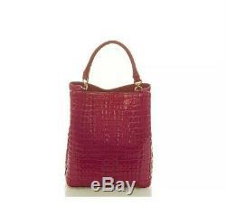 $295 Brahmin Amelia Fuschia La Scala Deep Pink Embossed Bucket Tote Shoulder Bag