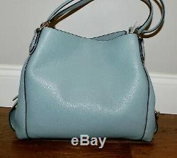 $350 New Coach Edie 31 Sage Blue Pebble Leather Shoulder Bag Handbag Purse 57125