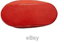3D' Large Red Leather Hobo Shoulder Handbag Longchamp with Magnetic Snap