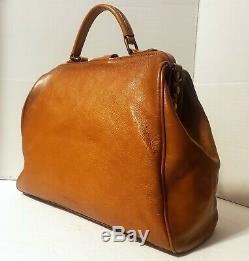 $650 Pratesi Monteriggioni Italian Aged Leather Doctor Bag B174 Cognac Brown