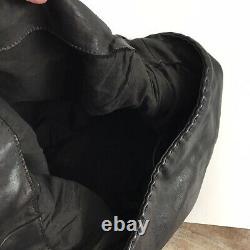 ALLSAINTS Large Black Leather Hobo Bag Woven Braided Tassel