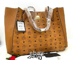 AUTH NWT $865 MCM Luisa Visetos Coated Canvas Large Tote Shopper In Cognac