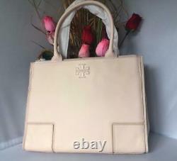 AUTH NWT TORY BURCH ELLA Canvas Pebbled Leather Tote Shopper Bag In Light Oak