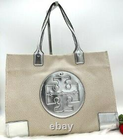 AUTH NWT TORY BURCH ELLA Logo Large Canvas Leather Tote Bag In Natural/ Silver