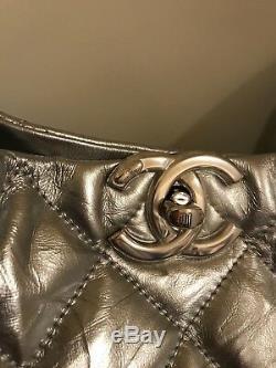 Authentic Chanel Big Bang silver hobo bag purse handbag paperwork box calfskin