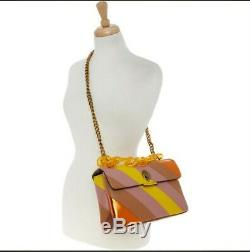 BNWT KURT GEIGER LONDON Kensington Stripe Leather Large Shoulder Bag, RRP £199