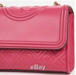 BNWT Tory Burch Fleming Small Convertible Shoulder Bag Bright Azalea Pink