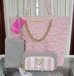 Betsey Johnson Swag Chain Tote Wallet Pouch Set Quilted Hearts Blush NWT