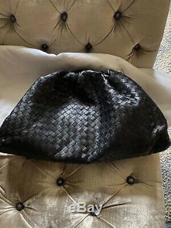 Bottega Veneta The Pouch Intrecciato Woven Leather Clutch Black