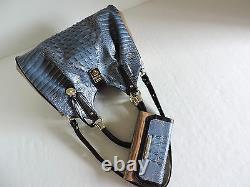 Brahmin Elisa Hobo Blue Satellite Palma Leather Carryall Bag+CB Wallet NWTHTF