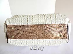 Brahmin Elisa Hobo Croc Lizard Marshmallow White Brown Leather Satchel Bag NWT