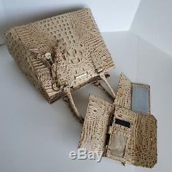 Brahmin Joan Tote Champagne Leather Business Shoulder Bag+CB Wallet+Roses NWT