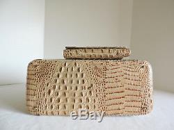 Brahmin Joan Tote Latte Sahara Exotic Leather Business Bag+Chkbook Wallet NWT