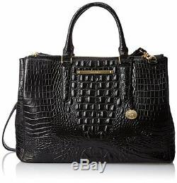 Brahmin Lincoln Satchel Black Croc Leather Business Brief Work Bag Finley