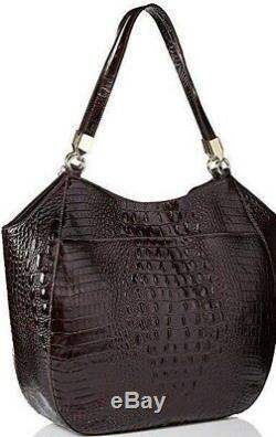 Brahmin Thelma Cocoa Dalton Croc Suede Leather Tassel Tote Hobo Marianna
