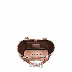 Brand New Coach (f49056) Small Ferry Tote Light Copper Pink Glitter Bag Handbag