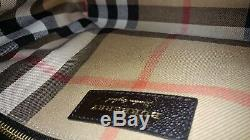 Burberry Soft Grain MD Dashwood Buckle Leather Tote Satchel BLACK ITALY NWT