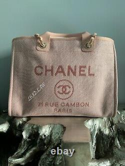 CHANEL 20A Pink Deauville Tote Large GST Grand Shopper 2020 Blush Leather NWT