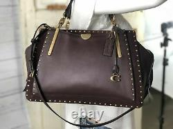 COACH Dreamer 36 Leather Satchel Carryall 31020 Mixed Oxblood Red Rivets Studs