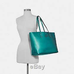 COACH F79983 Town Tote In Viridian Metallic Pebble Leather NewithNWT