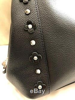 COACH Floral Rivet Edie 31 Hobo Shoulder Bag Navy Blue Black Leather Studs 37700