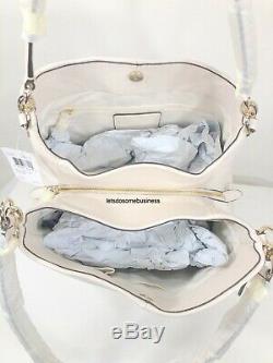 COACH MADISON PHOEBE Pebbled Leather Satchel Hobo Shoulder Bag 35723 Chalk White