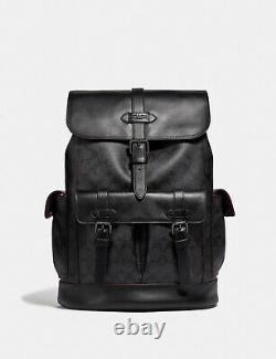 COACH Mens HUDSON Backpack Shadow Signature BLACK Canvas & Leather F50044 NWT