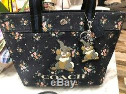COACH x DISNEY THUMPER LG SHOULDER TOTE ZIP POUCH AND KEYCHAIN MIDNIGHT MULTI
