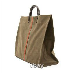 Clare V. Simple Tote Suede Army Green Bag w Stripes Leather NWT Shoulder