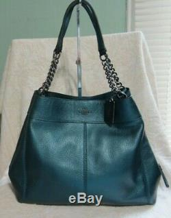 Coach 22209 Lexy Chain Bag, Lg. Metallic Midnight Blue Shoulder Bag $498 NWOT NEW