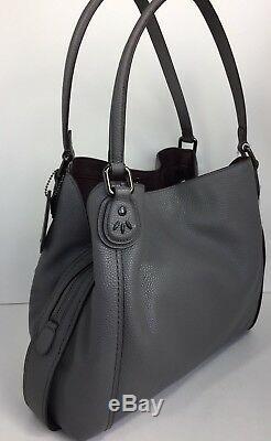 Coach 22794 Edie Shoulder Bag 31 With Prairie Rivets Dark Antique/Heather Grey