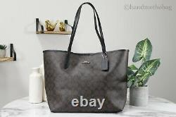 Coach 5696 Brown Black Signature Coated Canvas City Tote Shoulder Bag Handbag