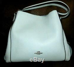 Coach 57125 Edie Shoulder Bag Sky Light Blue Pebbled Leather Handbag NWT $350