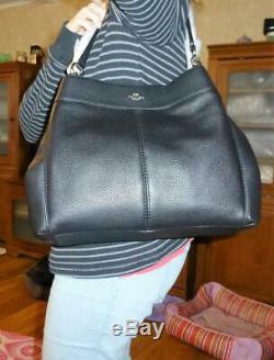 Coach 57545 Lexy Shoulder Bag handbag Black Gold tote Leather satchel purse