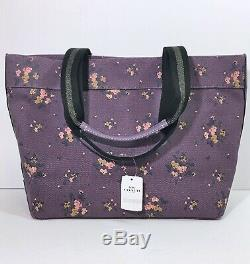 Coach Disney Aristocats Tote Bag Limited Edition Cat Purple Floral Print NWT