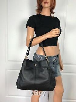 Coach F28997 Lexy Black Pebble Leather Shoulder Bag Purse Authentic New $398