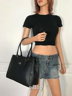 Coach F31474 Black Tote Bag Purse Handbag Authentic New Crossgrain Leather