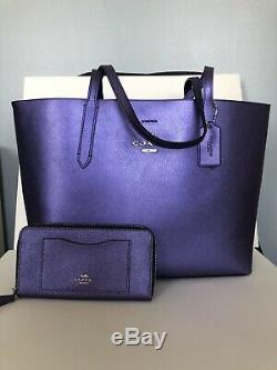 Coach F37871 Metallic Purple Avenue Tote Handbag Bag Purse Violet Wallet Set New