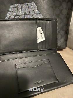 Coach F88019 Star Wars X Town Large Tote Bag Handbag And Slim Wallet Set Black