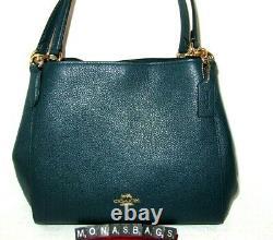 Coach Hallie 80268 Peacock Pebbled Leather Shoulder Handbag NWT $398