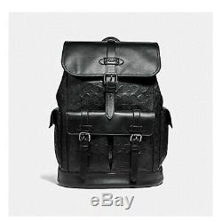 Coach Hudson F50053 QB/BK Signature Black Leather Traveler Backpack BRAND NEW