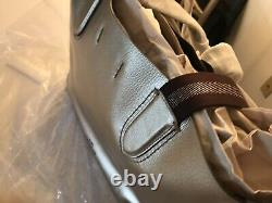 Coach Large DERBY Leather Tote Bag Metallic Silver Platinum F59388