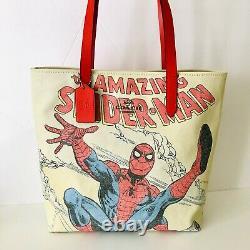 Coach Marvel Tote Spider-man Print Leather Beige Canvas Shoulder Bag NWT $298