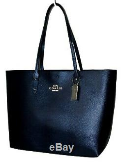 Coach Metallic Tote Large Leather Town Shoulder Bag Purse Blue Cadet F79983