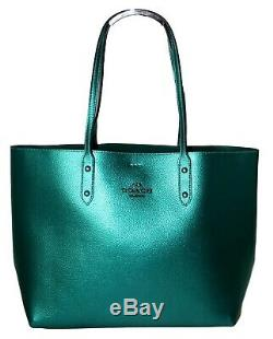 Coach Metallic Tote Large Leather Town Tote Shoulder Bag Purse Vridian F79983
