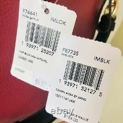 Coach Mia Satchel Large Purse Wallet Set Colorblock Pink Black Leather NWT $686