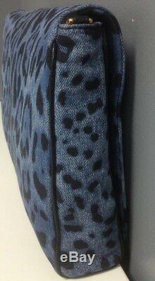 DOLCE AND GABBANA NWT Blue Black Animal Print Denim Chain Strap Crossbody B4684