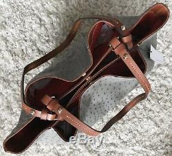 DOONEY & BOURKE Grey Tan Ostrich Leather Flynn Shoulder Bag Tote R1459 NWT $318